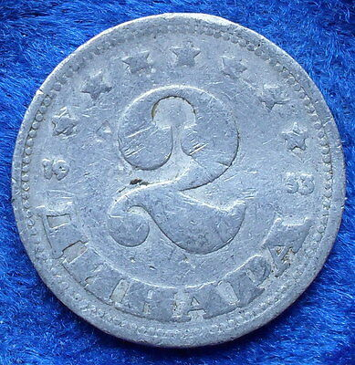 YUGOSLAVIA - 2 dinara 1953 KM# 31 Federal Peoples Rep. 1946-63 - Edelweiss Coins