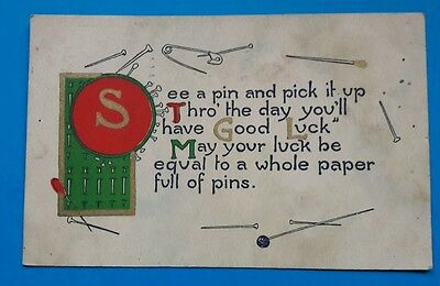 See a pin and pick it up. Vintage postcard 1912