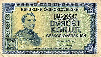 14 TIMES VINTAGE CZECHOSLOVAKIAN 1945--20 KORUN NOTES-DIFFERENT SERIAL NO's.