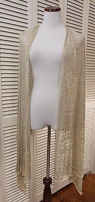Antique Vintage 1920's Egyptian Assuit Silver Metal Embroidered Shawl Wrap