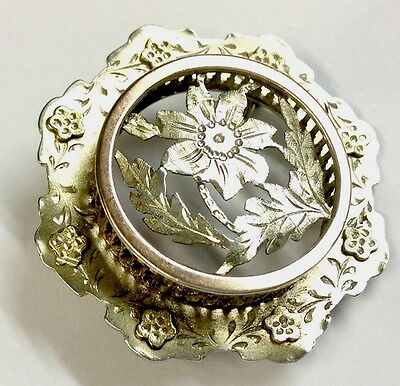 Antique Silver Yellow & Rose Gold Raised Flower Brooch Pin