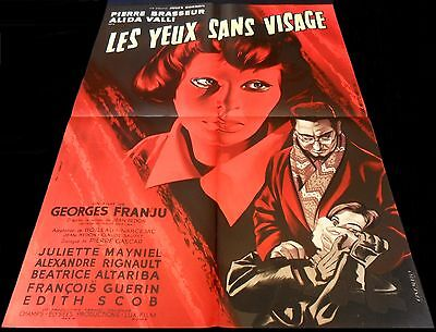 1960 Eyes Without a Face ORIGINAL FRENCH POSTER Mascii Art Les Yeux Sans Visage
