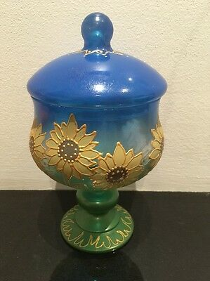 Hand Decorated Glass  Bowl With Lid