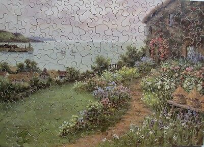 Vintage Salmon Academy Wooden Jigsaw Puzzle  - A Cottage Garden By The Sea