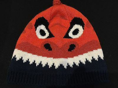 Fat Face Orange Warm Knitted Winter Baby Hat 12 Months In Excellent Condition