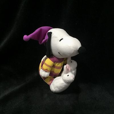"EASTER Peanuts 6"" Snoopy Plush w Easter Bunny Slippers Stuffed Toy"