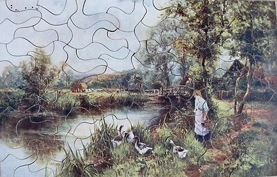 Vintage Raphael Tuck? Wooden Jigsaw Puzzle  - Haymaking On The Avon