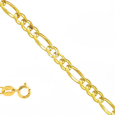 "10k Solid Yellow Gold 1.9mm Figaro Chain Bracelet Necklace 7"" 16"" 18"" 20"""