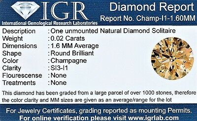 1 Diamante Natural Si3 Champagne 1.60 Mm/0.020 Quilates Certificado Igr Agest02