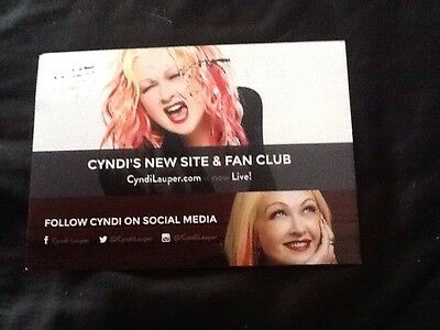 CYNDI LAUPER,  Unique official FAN CLUB POSTCARD From 2015
