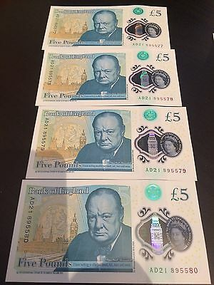 Bank of England Genuine New PLASTIC/POLYMER £5 Five Pound Note 4x consecutive no