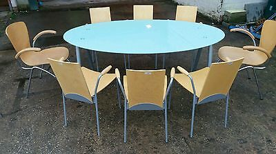 Large Office Meeting Conference Glass Table + 8 stackable chairs