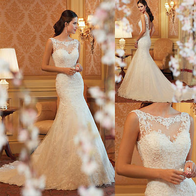 2017 New White/Ivory Mermaid Lace Wedding Dress Bride Gown Size:6/8/10/12/14/16