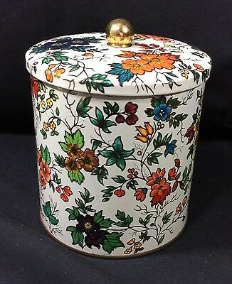 Daher Floral Tin Cannister Lidded Vintage. 5 Inches Tall.