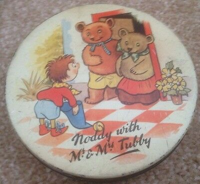 "Authentic Huntley And Palmers Noddy Tin ""noddy With Mr.& Mrs.tubby"" Rare Vintage"