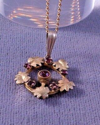 Lovely Antique GF Wreath Circle Pendant Necklace w/ Red Paste Stones  ca:1920s
