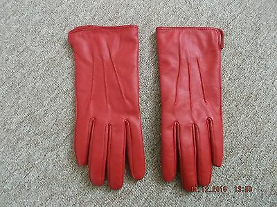 Red Leather Gloves - Small