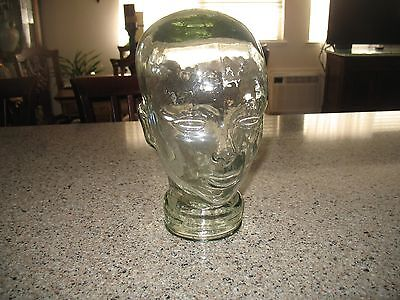 """Vintage Glass Head Mannequin Display Tinted Glass 11.50"""" Tall"""