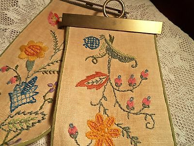 Vintage Linen And Embroidery Bell Puller Hanger