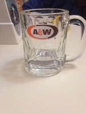 """Vintage A&W Root Beer Mug Cup Clear Glass Brown and Orange Logo 4 1/4"""""""