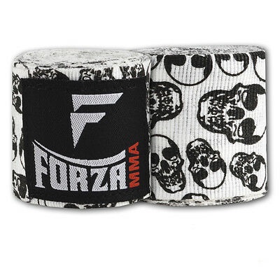"Forza 180"" Mexican Style Boxing Handwraps - Factory Skulls White"