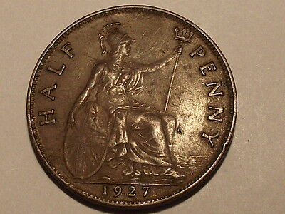 1927 King George V Half-Penny Nice Condition