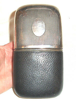 Fine Antique Silver Plated Dixons & Sons Engine Turned Engraved Hip Flask c1890