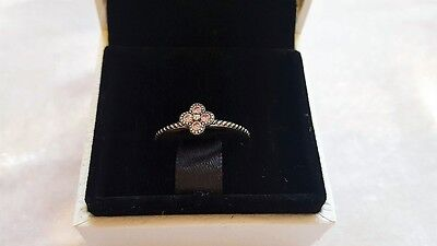 Pandora Pink Oriental Blossom Sterling Silver Ring. Size 58  S925 ALE