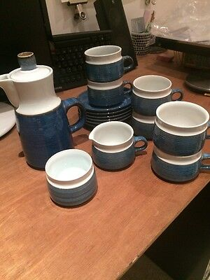 Full Vintage Tea Service For Six. Blue And White Glazed Pottery