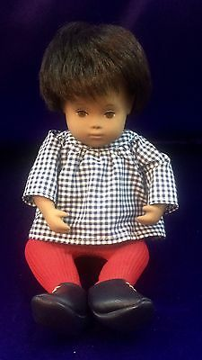 "Sasha Baby Doll #508 Gingham Top Red Tights, 11"" Brunette 70's Made In England"