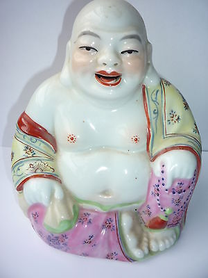 Antique/Old Chinese Porcelain Famille Rose Happy Laughing Buddha Figure Statue