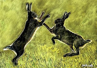 Boxing Hares A4 Hare ART PRINT of Original Painting Wildlife by Steve Russell