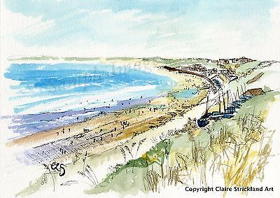 North Cliff Filey Signed Art Print of original Painting by Claire Strickland