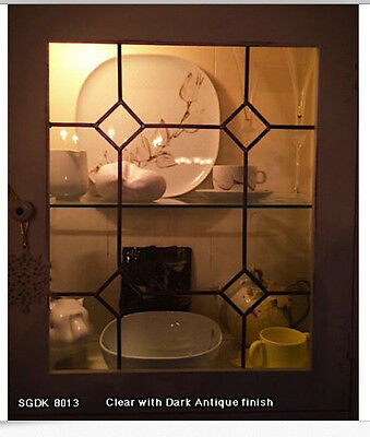 Leaded glass,Cabinet Door inserts Bevels & Clear glass antique finish WOW