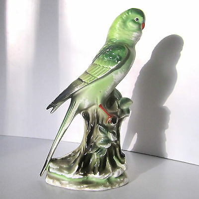 Vintage Budgie Figurine Ornament Bisque China Green Hand Painted H21cm