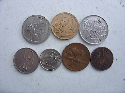 3 Lot Of 7 South Africa Coins 1 Cent - 2 Rand 1975-1996(Old Type  ) Rare!!!