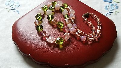 Czech Vintage Pink And Green Glass Bead Necklace