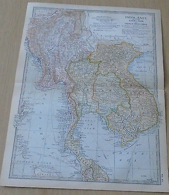 Old Britannica Map India East Burma Siam & French Indo-China