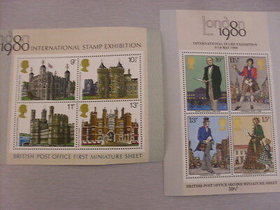 British Stamps 2 Mini Sheets London 1980 International Stamp Exhibition