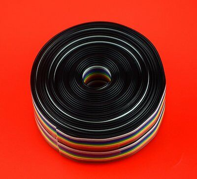 XLX 20pin Wire Rainbow Color Flat Ribbon IDC Wire Cable16ft/5m 20Wire