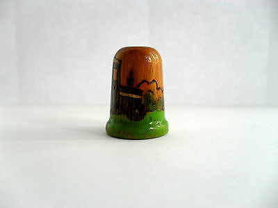 Wooden Thimble With A Painted Farm Tractor