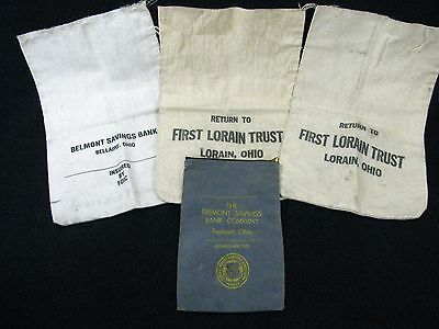 Lot of 4 Vintage Canvas Coin Money Bags from Various Ohio Banks Canvas Money Bag