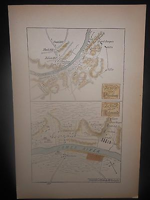 Benedict Arnold At Petersburg & Richmond VA Revolutionary War Map Hand Colored