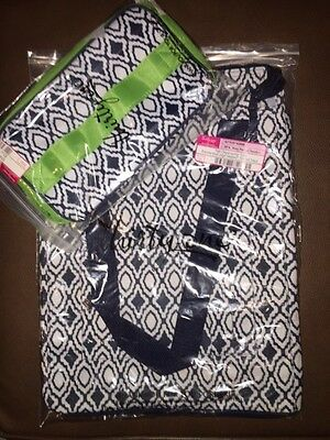 Thirty One Navy Perfect Pendant Glamour Case and Tall Organizing Tote!!!  NIP
