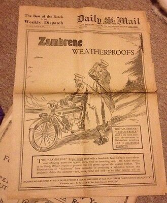 WW1 Large Poster Original 1915 Daily Mail Triumph Motorcycle