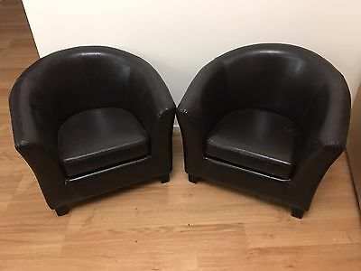 Kids Faux Leather Look Brown Tub Lounge Chairs