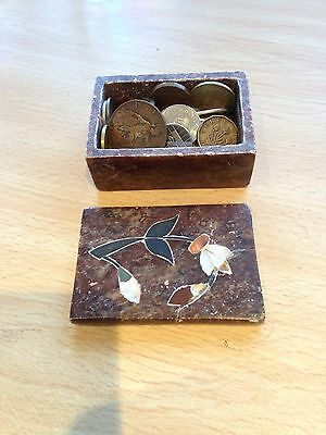 Massive Joblot of Unsorted World coins - 1/2kg in a Vintage inlaid Box