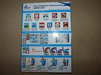 Bangkok Airways Airbus A319 Series Safety Card Issue January 2016