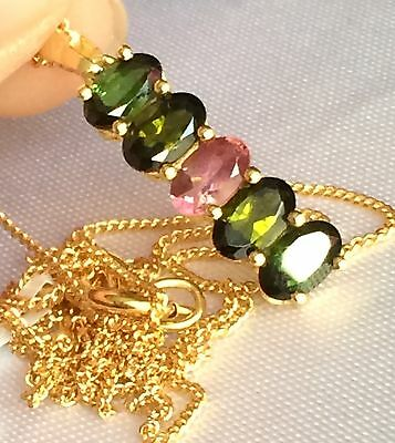 Rainbow Tourmaline 5 Stone Pendant 14k Gold on 925 Silver (1.250cts