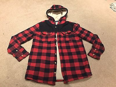 Boys check Fleece Lined Hooded Shirt 13 Years M & S